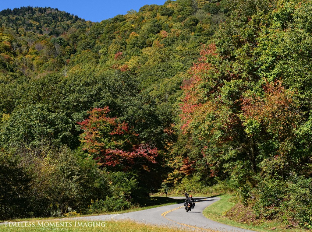 Riders enjoy the colors of the Blue Ridge Parkway