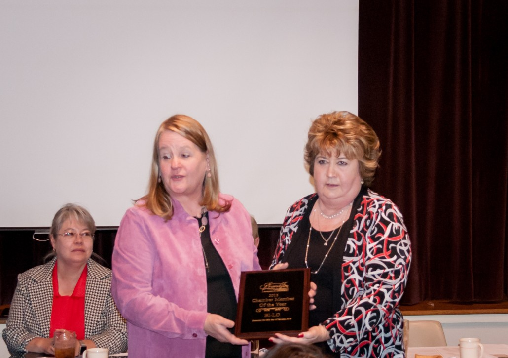 Pam Bowen accepts the Chamber Member of the Year for BI-LO
