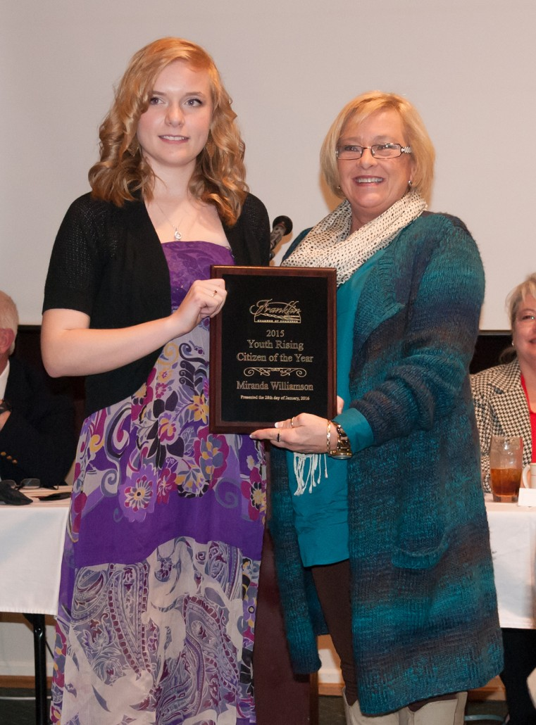 The Youth Rising Citizen Award was given to Ms. Miranda Williamson