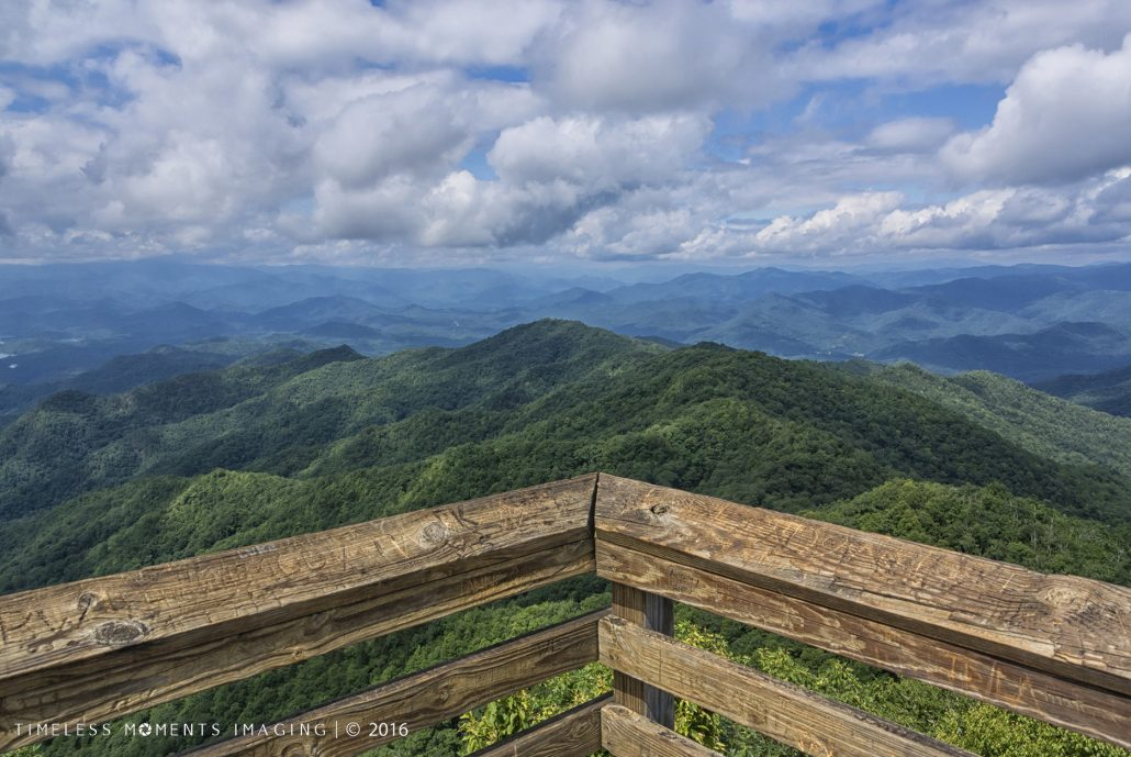 Looking out from the platform of Wesser Bald Tower - Franklin, NC