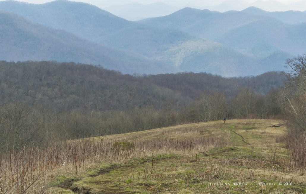 An early Spring AT hiker descends Siler Bald heading north