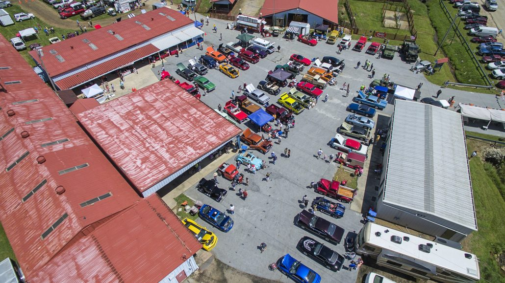 Aerial View of the Car Show